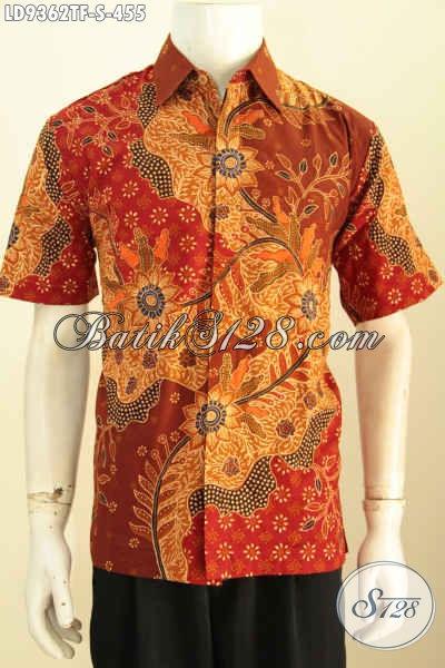 Hem Lengan Pendek Batik Tulis Istimewa, Baju Batik Mewah Pake Furing Buatan Solo Motif Terkini Harga 455K, Spesial Untuk Pria Muda [LD9362TF-S]