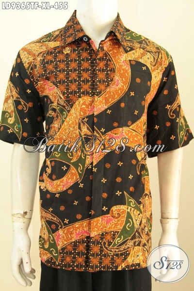 Toko Baju Batik Premium Online, Sedia Kemeja Lengan Pendek Full Furing Motif Elegan Proses Tulis, Pria Tampil Lebih Menawan [LD9365TF-XL]