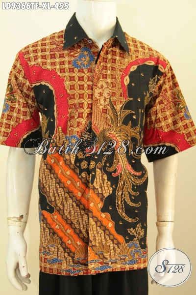 Sedia Hem Batik Full Furing Lengan Pendek Motif Mewah Proses Tulis, Baju Batik Istimewa Untuk Pria Dewasa Karir Sukses [LD9366TF-XL]