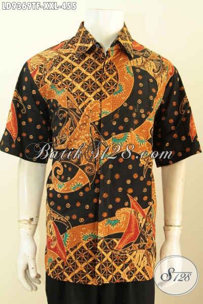 Batik Hem Jumbo, Baju Batik Tulis 3L Model Lengan Pendek Daleman Full Furing Bahan Halus Motif Mewah Harga 455K [LD9369TF-XXL]