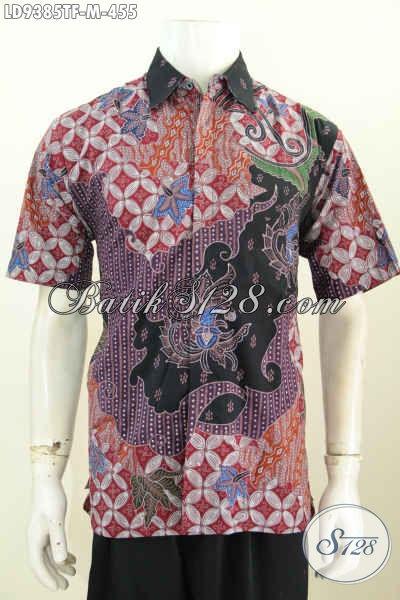 Baju Batik Cowok Keren, Pakaian Batik Premium Lengan Pendek Full Furing Motif Bagus Proses Tulis, Di Jual Online 455K [LD9385TF-M]