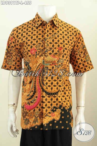 Baju Batik Tulis Elegan, Hem Batik Mewah Lengan Pendek Pakai Furing Motif Klasik Asli Buatan Solo, Bikin Penampilan Lebih Berwibawa [LD9391TF-L]