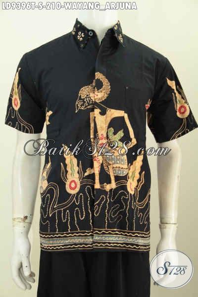 Hem Batik Wayang Arjuna, Kemeja Batik Tulis Lengan Pendek Untuk Pria Muda Masa Kini [LD9396T-S]