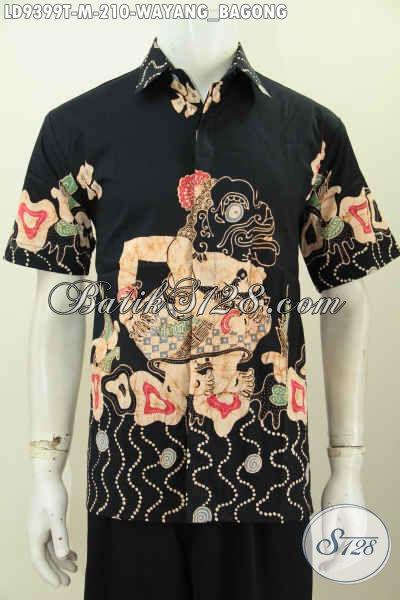 Hem Batik Elegan Nan Mewah, Baju Batik Tulis Solo Modis, Busana Batik Keren Cocok Buat Santai Dan Resmi Harga 200 Ribuan, Model Lengan Pendek Motif Wayang Bagong [LD9399T-M]