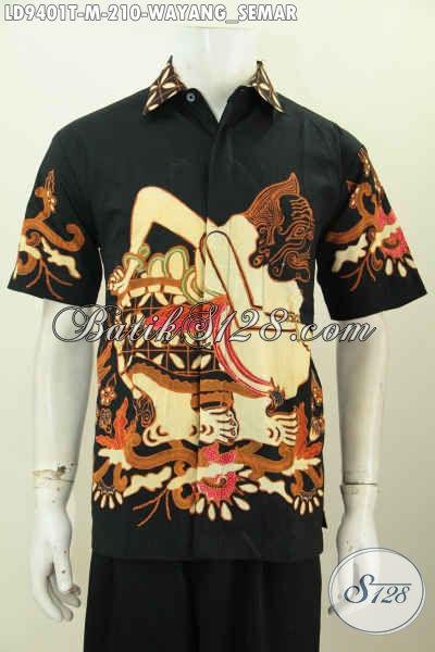 Baju Batik Pria Muda, Kemeja Batik Solo Halus Proses Tulis Motif Wayang Semar Lengan Pendek Dasar Hital Tampil Terlihat Elegan [LD9401T-M]