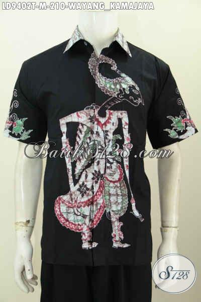 Baju Batik Hitam Elegan Pria Muda, Kemeja Batik Solo Lengan Pendek Size M Motif Wayang Kamajaya, Cocok Buat Gaul