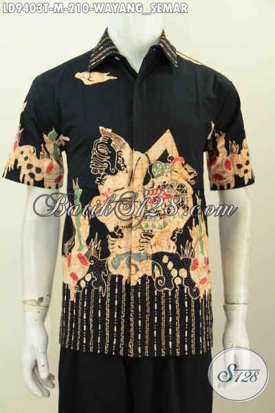 Batik Hem Keren Yang Modis Buat Kerja Dan Santai, Baju Batik Tulis Halus Motif Semar Lengan Pendek Kwalitas Istimewa, Size M
