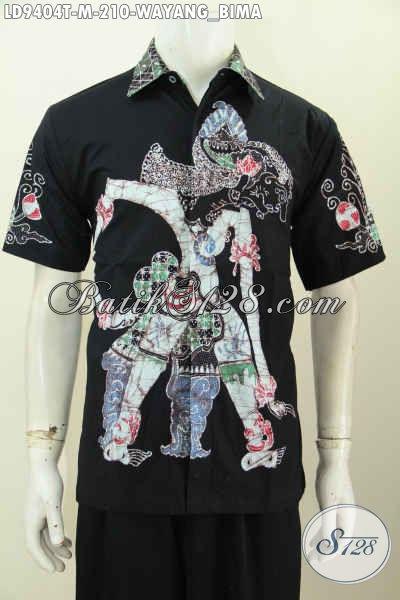 Baju Batik Modis Halus Lengan Pendek Masa Kini, Pakaian Batik Keren Motif Wayang Bima, Pas Untuk Seragam Kerja Kantoran Tampil Menawan [LD9404T-M]