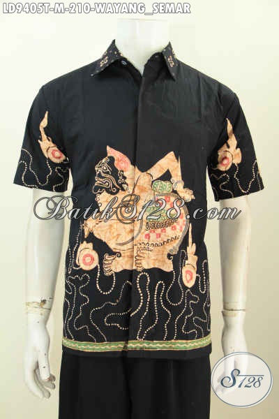 Hem Lengan Pendek Hitam Non Furing, Baju Batik Kwalitas Premium Motif Wayang Semar, Penampilan Terlihat Berwibawa [LD9405T-M]