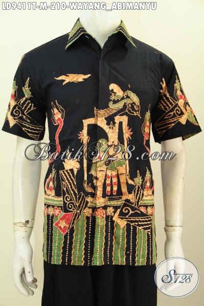 Pakaian Batik Lengan Pendek Pria Model 2017, Baju Batik Tulis Halus Motif Wayang Abimanyu Lengan Pendek, Keren Untuk Hangout Dan Jalan-Jalan [LD9411T-M]