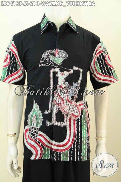 Produk Pakaian Batik Pria Terkini, Hem Batik Modis Halus Lengan Pendek Motif Wayang Yushistira Kwalitas Istimewa Harga 200 Ribuan Saja [LD9413T-M]