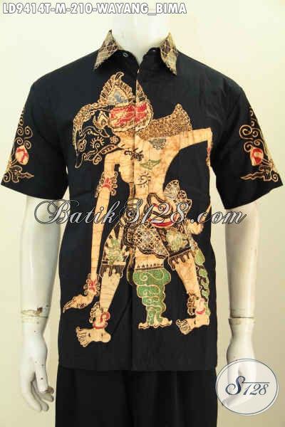 Toko Baju Batik Solo Modis Online, Sedia Kemeja Lengan Pendek Keren Motif Wayang Bima Proses Tulis, Bikin Penampilan Pria Gagah Dan Tampan Maksimal [LD9414T-M]