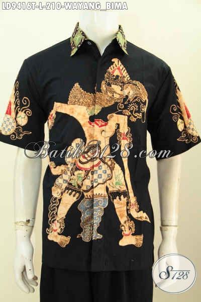 Koleksi Terkini Pakaian Batik Jawa Etnik Motif Wayang Bima, Baju Batik Solo Jawa Tengah Lengan Pendek Kwalitas Bagus Harga Terjangkau Proses Tulis [LD9416T-L]