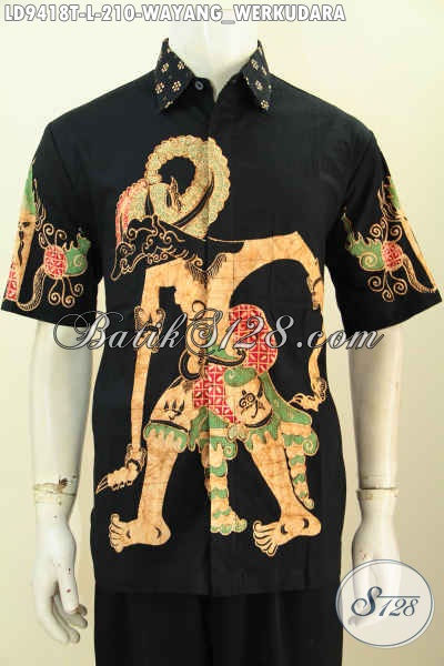 Toko Pakaian Batik Online Paling Up To Date, Jual Hem Batik Wayang Motif Werkudara Model Lengan Pendek Desain Keren Bahan Halus Proses Tulis Harga 210K [LD9418T-L]