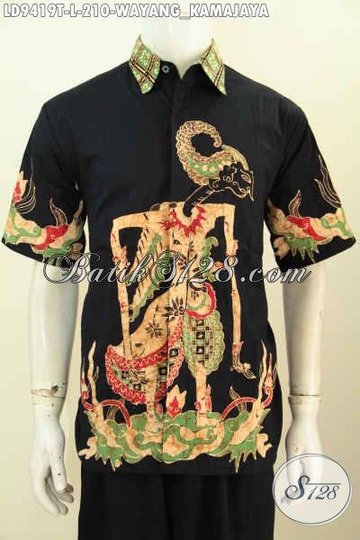 Hem Batik Hitam Lengan Pendek Keren Motif Wayang Kamajaya, Pakaian Kerja Pria Muda Dan Dewasa Proses Tulis Harga 200 Ribuan [LD9419T-L]