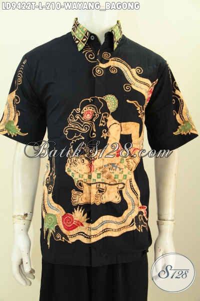 Sedia Kemeja Lengan Pendek Proses Tulis Harga 200 Ribuan, Busana Batik Jawa Motif Wayang Bagong Bahan Adem, Cocok Untuk Seragam Kerja Kantoran [LD9422T-L]