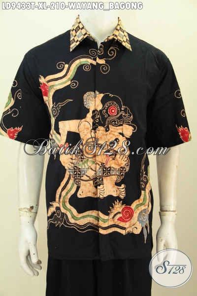 Model Baju Batik Pria Terkini, Hem Batik Kerja Nan Elegan Warna Hitam Motif Wayang Bagong Proses Tulis, Spesial Untuk Lelaki Dewasa [LD9433T-XL]