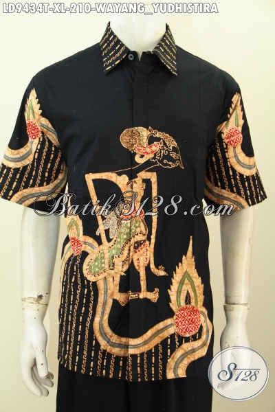 Toko Pakaian Batik Online Terlengkap, Sedia Kemeja Keren Bahan Batik Tulis Motif Wayang Yudhistira Model Lengan Pendek Hanya 210 Ribu [LD9434T-XL]