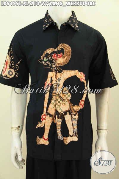 Galeri Baju Batik Pria Online, Jual Hem Lengan Pendek Keren Untuk Pria Dewasa Dengan Motif Wayang Werkudara Model Lengan Pendek Proses Tulis Harga 210K [LD9435T-XL]