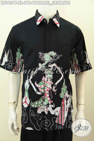 Hem Batik Elegan Warna Hitam, Baju Batik Solo Lengan Pendek Istimewa Proses Tulis Motif Wayang Srikandi, Tampil Modis Dan Bergaya [LD9437T-XL]