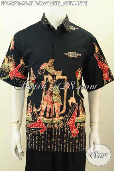 Jenis Model Baju Batik Pria Paling Keren, Hem Batik Slimfit Lengan Pendek Motif Wayang Abimanyu Proses Tulis Untuk Penampilan Lebih Mempesona [LD9439T-XL]