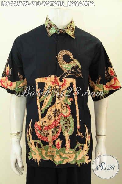 Hem Batik Motif Wayang Kamajaya, Kemeja Lengan Pendek Non Furing Harga 210K Berbahan Adem Nyaman Buat Kerja [LD9440T-XL]
