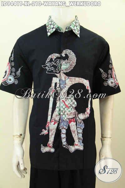 Sedia Busana Batik Modern Lengan Pendek Istimewa Proses Tulis Motif Werkudara Bahan Adem Kwalitas Istimewa Harga 210K, Size XL