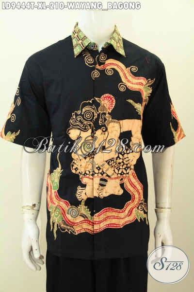 Jaul Baju Batik Pria Modis, Pakaian Batik Istimewa Desain Terbaru Bahan Halus Proses Tulis Motif Wayang Bagong Harga 210 Ribu [LD9444T-XL]