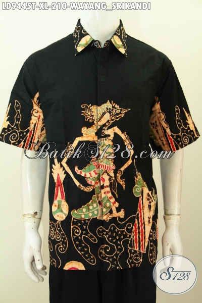 Toko Baju Batik Online, Sedia Baju Batik Kerja Pria Dewasa Lengan Pendek Motif Wayang Srikandi Proses Tulis 200 Ribuan [LD9445T-XL]