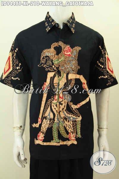 Batik Hem Solo Halus Size XL, Baju Batik Pria Dewasa Lengan Pendek Motif Wayang Gatotkaca, Penampilan Terlihat Perkasa [LD9448T-XL]