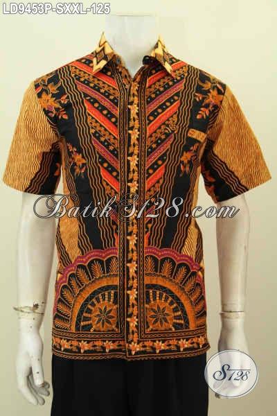 Kemeja Batik Lengan Pendek Klasik, Busana Kerja Pria Muda Dan Dewasa Bahan Halus Proses Printing Hanya 125K [LD9453P-S]