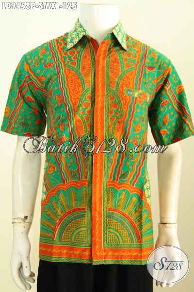Aneka Baju Batik Kerja Pria Muda Dan Dewasa, Hem Batik Solo Lengan Pendek Motif Mewah Kwalitas Istimewa Untuk Penampilan Mempesona [LD9458P-S , XL]