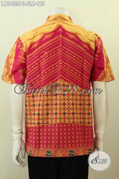 Hem Batik Keren Modis Desain Berkelas, Baju Batik Pria Lengan Pendek Istimewa Proses Printing Buatan Solo Asli Harga 125K [LD9459P-S , M]
