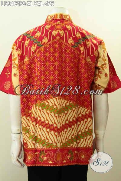 Toko Online Aneka Produk Batik Solo, Jual Hem Kerja Pria Karir Lengan Pendek Desain Terkini Berpadu Motif Klasik Berkelas Hanya 125K [LD9467P-XL]