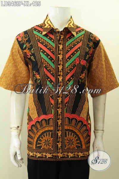Baju Batik Kerja Pria Dewasa, Hem Batik Lelaki Kantoran Motif Klasik Printing, Penampilan Lebih Gagah Mempesona [LD9468P-XL]