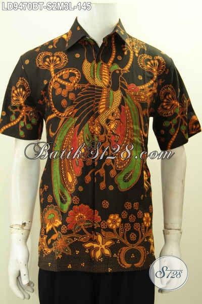Aneka Baju Batik Hitam Motif Bagus Proses Kombinasi Tulis, Pakaian Batik Keren Lengan Pendek Buatan Solo Harga Terjangkau [LD9470BT-L]