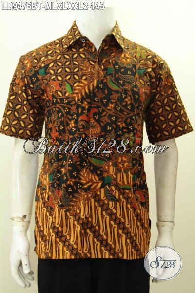 Jual Busana Batik Kerja Keren Motif Klasik, Pakaian Batik Lengan Pendek Kombinasi Tulis Pilihan Komplit Kwalitas Istimewa Harga 145K [LD9476BT-M]
