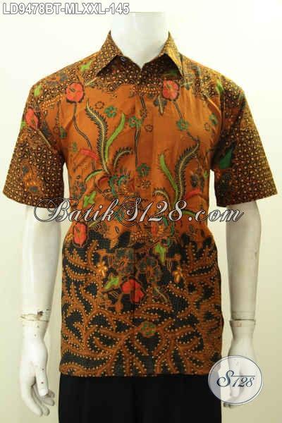 Pakaian Batik Jawa Terkini, Busana Batik Halus Lengan Pendek Keren Motif Klasik Kombinasi Tulis, Tampil Tampan Menawan [LD9478BT-M]