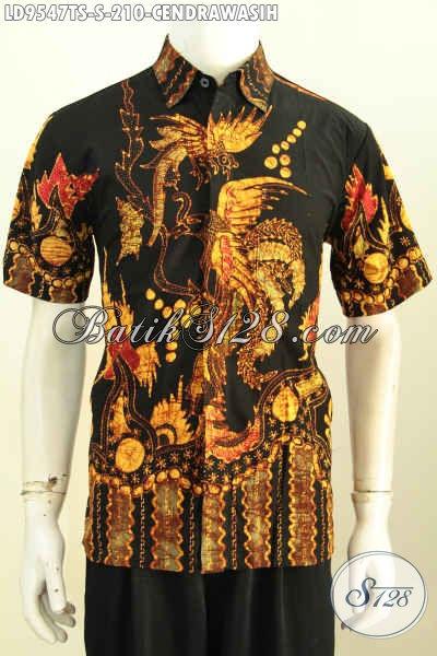 Jual Baju Batik Atasan Pria, Hem Lengan Pendek Keren Desain Bodyfit Bahan Adem Proses Tulis Soga Motif Burung Cendrawasih Harga 210K [LD9547TS-S]