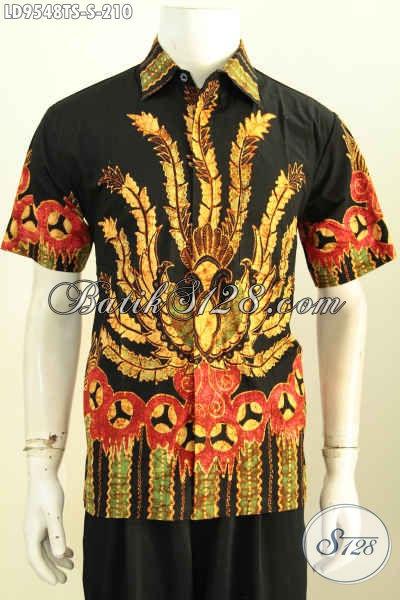 Hem Batik Trendy, Baju Batik Jawa Untuk Pria Tampil Gagah Dan Tampan, Bahan Halus Proses Tulis Soga 200 Ribuan [LD9548TS-S]