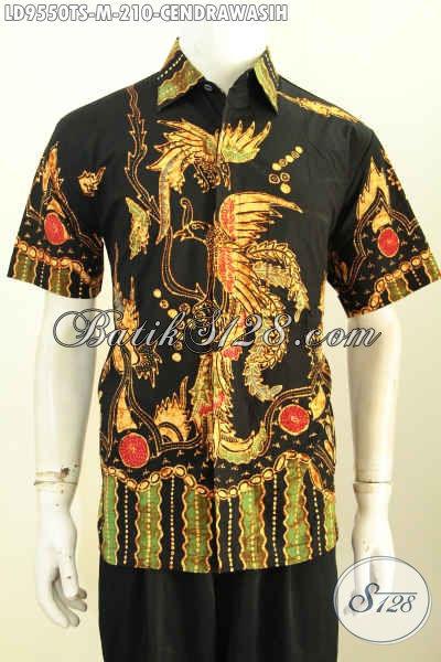 Hem Batik Keren Kwalitas Premium Motif Burung Cendrawasih, Baju Batik Modis Untuk Kerja Dan Santai Proses Tulis Soga, Penampilan Lebih Tampan Mempesona [LD9550TS-M]