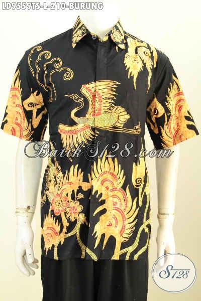 Baju Batik Kerja Pria Lengan Pendek, Hem Batik Keren Motif Burung Proses Tulis Soga, Menunjang Penampilan Makin Ganteng Maksimal [LD9559TS-L]