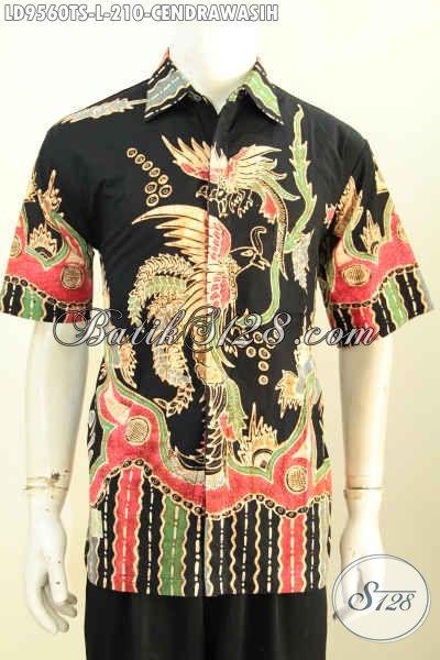 Baju Batik Terbaru Pria Online, Kemeja Batik Modis Motif Burung Cendrawasih Lengan Pendek Proses Tulis Soga, Keren Buat Kerja [LD9560TS-L]