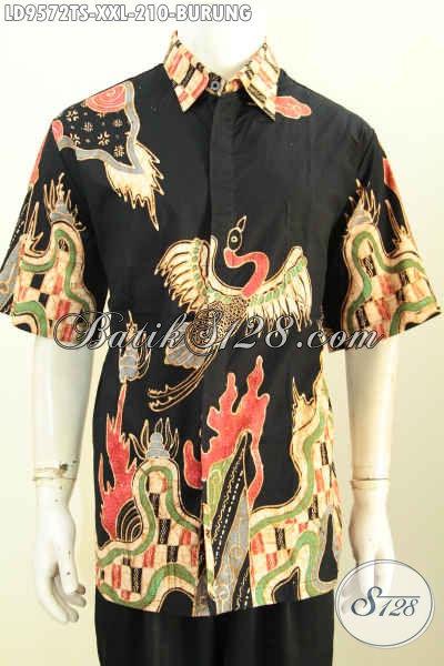 Toko Batik Online Sedia Baju Batik Jumbo, Hem Batik Pria Gemuk 3L Model Lengan Pendek Motif Burung Proses Tulis Soga Harga 200 Ribuan Saja [LD9572TS-XXL]