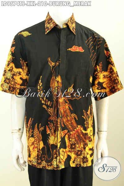 Baju Batik Kwalitas Premium, Hem Batik Elegan Lengan Pendek Tulis Soga Motif Burung Merak, Spesial Untuk Lelaki Berbadan Gemuk [LD9574TS-XXL]