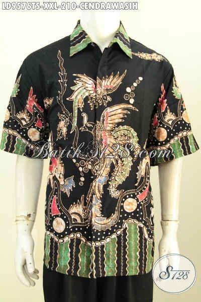 Hem Batik Solo Halus Legan Pendek Big Size, Kemeja Batik Jumbo 3L Proses Tulis Soga Motif Burung Cendrawasih, Kesukaan Pria Gemuk Karir Aktif [LD9576TS-XXL]