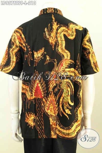 Baju Batik Elegan Motif Kombinasi, Hem Batik Tulis Soga Istimewa Pria Terlihat Gagah Dan Berkarakter [LD9578TS-L]