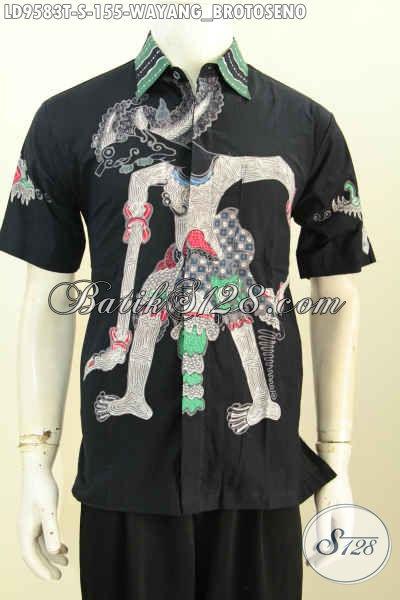 Pusat Baju Batik Solo Halus Nan Modis, Kemeja Batik Wayang Motif Brotoseno Lengan Pendek Proses Tulis Hanya 100 Ribuan, Size S