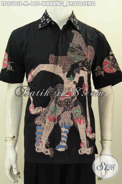 Kemeja Batik Hitam Lengan Pendek Motif Wayang Brotoseno, Pakaian Batik Tulis Elegan Bahan Halus Proses Tulis, Cocok Untuk Ke Kantor Tampil Menawan [LD9590T-M]