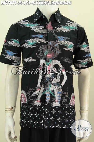 Kemeja Batik Pria Motif Hanoman, Hem Batik Tulis Lengan Pendek Elegan Dasar Hitam Hanya 155K [LD9597T-M]